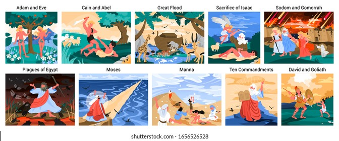 Bible narratives set. Adam and Eve, Noeh and Moses, David and Goliath. Christian bible character. Scripture history. Vector illustration.