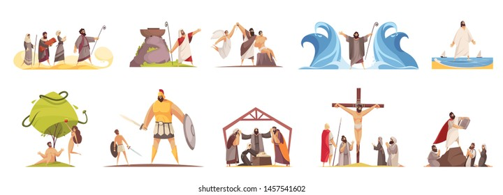 Bible narratives set of isolated doodle compositions with legendary characters and iconographic scenes on blank background vector illustration