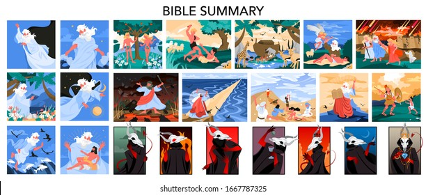 Bible narratives and seven deadly sins set. Adam and Eve, Noeh and Moses, David and Goliath. Anger, envy, lust and glottony. Pride, sloth and avarice. Christian bible character. Vector illustration.