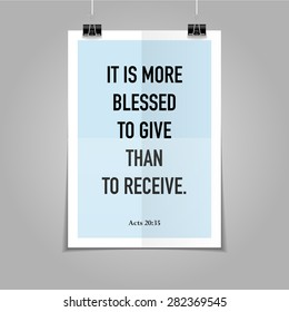 Bible quote hipster poster on a blue folded paper background