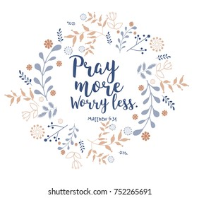 bible quote, verbs in floral wreath design