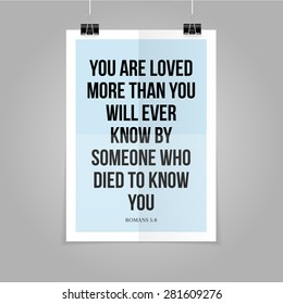 Bible quote - You are loved by God - hipster poster on a blue paper background