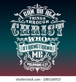 bible quotes, philippians 4:13, typography design vector with gradient background