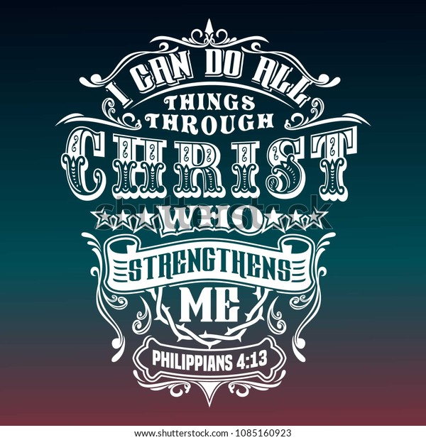 bible quotes philippians typography design stock vector