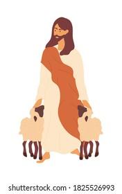 Bible scene. Jesus as a shepherd. Flat vector illustration