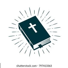 Bible, Scripture logo or label. Faith, creed, prayer icon. Vector illustration