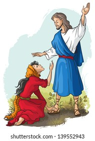 Bible stories. Jesus to Mary of Magdalene. Christian cartoon vector illustration. Also available raster version