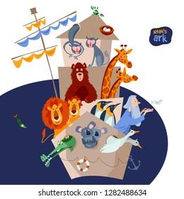 Bible story. Noah's ark with various animal pairs (monkey, bear, giraffe, lion, penguin, crocodile, koala, goose, pigeon, crab). Vector illustration