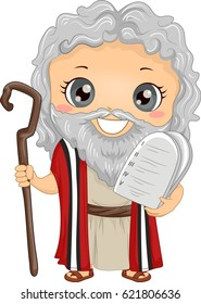 Bible Story Illustration of a Little Boy Role Playing Moses Wearing a Tunic and Carrying Stone Tablets
