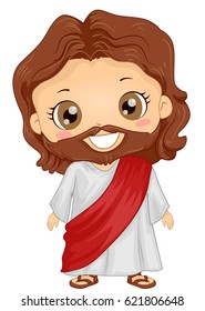 Bible Story Illustration of a Little Boy Role Playing Jesus Wearing a Tunic Adorned with a Red Sash