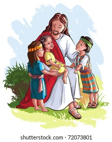 Bible story of Jesus and children. Also available raster and coloring book version