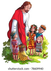 Bible story of Jesus and children. Also available raster and coloring book version.