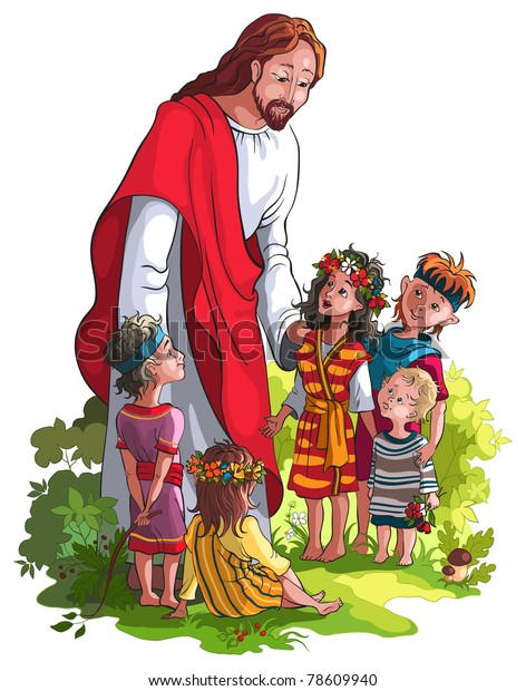 Bible Story Jesus Children Available Raster Stock Vector (Royalty
