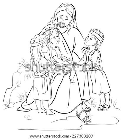 Bible Story Of Jesus And Children Coloring Page Also Available Colored Version