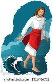 Bible story. Jesus walking on water. Vector cartoon christian illustration. Also available coloring book version.