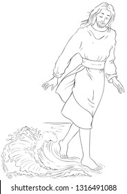 Bible story. Jesus walking on water. Vector cartoon christian coloring page. Also available colored version.