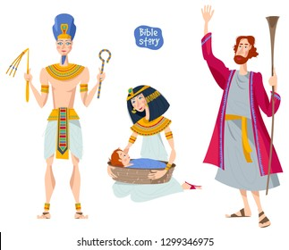 Bible story. Passover Haggadah. Pharaoh. Pharaoh's daughter finds the basket with Moses. Hebrew prophet Moshe. Vector illustration