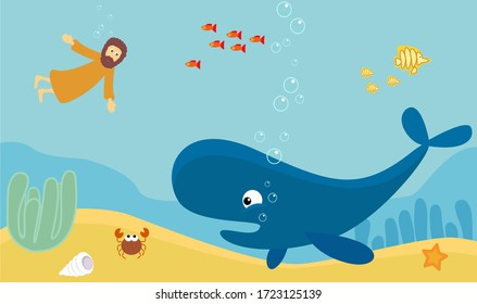 The Bible story of the prophet Jonah. Threw into the sea during a storm. The big fish swallowed. He was in the belly of a whale for three days and three nights. God saved Nineveh.