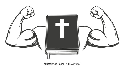 Bible and strong hand, bicep, symbol of Christianity icon cartoon symbol hand drawn vector illustration sketch