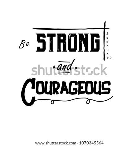 Bible Verse Be Strong Courageous Joshua Stock Vector Royalty Free