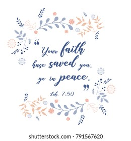 Bible versus, quote with wreath floral design, vector