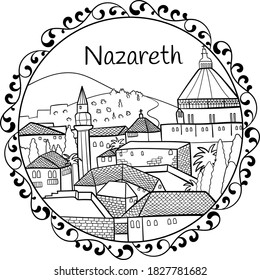 Biblical holy linear cityscape in mandala with text Nazareth in English surrounded by floral motifs, black on transparent vector.