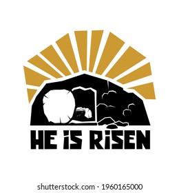 Biblical illustration. Christian art. He is risen.