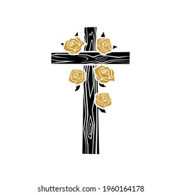 Biblical illustration. Christian art. Wooden cross of Jesus Christ decorated with roses.