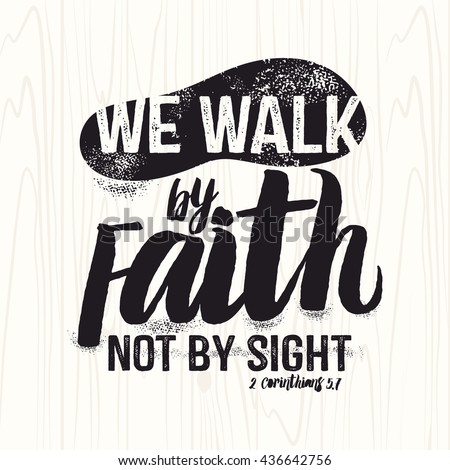 Biblical Illustration Christian Lettering We Walk Stock Vektorgrafik