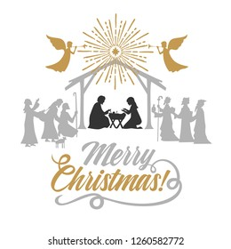 Biblical illustration. Christmas story. Mary and Joseph with the baby Jesus. Nativity scene near the city of Bethlehem. The shepherds and the wise men came to worship the Christ. Angels herald good ne