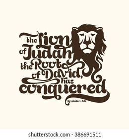 Biblical illustration. the Lion of the tribe of Judah, the Root of David, has conquered