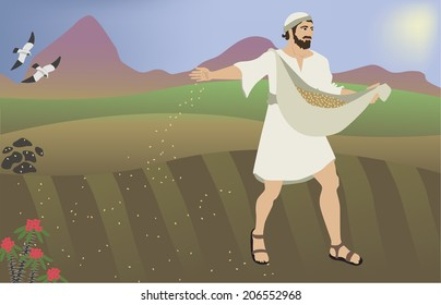 Biblical illustration of the parable Sower of seeds. Based on Bible verse: Mat 13:1-8