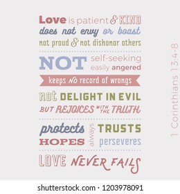 Biblical phrase from 1 corinthians 13:8, love never fails,typography design for use as printing poster, flyer or t shirt