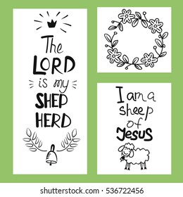 Biblical poster of three pictures The Lord is my Shepherd. Psalm. I am a sheep of Jesus. Child background.