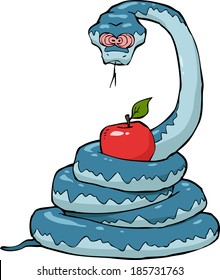 Biblical serpent with an apple on a white background vector illustration