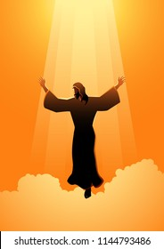 Biblical silhouette illustration series. The ascension day of Jesus Christ theme