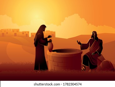 Biblical vector illustration of Jesus talking with Samaritan woman at the Jacob's well
