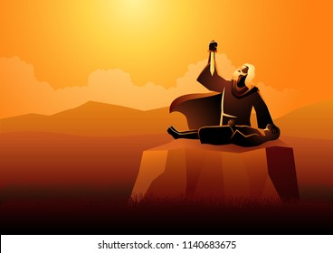 Biblical vector illustration series, Abraham sacrificing his son as a test of faith