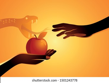 Biblical vector illustration series, Adam and Eve, Eve offering the apple to Adam