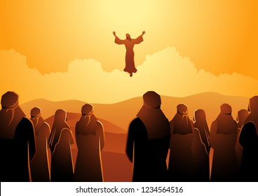 Biblical vector illustration series, The ascension of Jesus