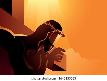 Biblical vector illustration series, close up of Jesus on the cross wearing a crown of thorns