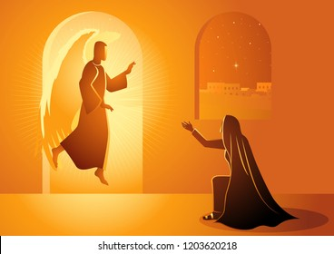 Biblical vector illustration series, Gabriel visits Mary also referred to as the Annunciation to the Blessed Virgin Mary