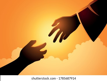 Biblical vector illustration series of God hand reaching out for human hand. Hope, help, God mercy concept