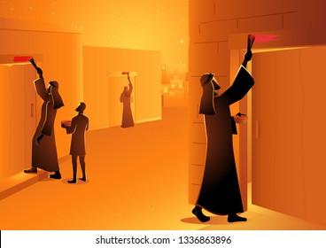 Biblical vector illustration series, Israelites marked the doorpost during passover