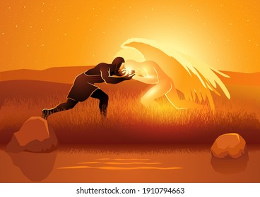 Biblical vector illustration series, Jacob wrestling with God or the angel