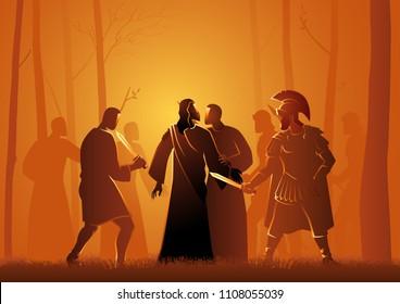 Biblical vector illustration series, Jesus kiss by Judas in the Garden of Gethsemane