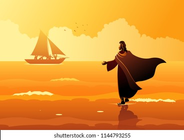 Biblical vector illustration series. Jesus walking on water
