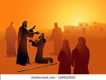 Biblical vector illustration series. Jesus heals the blind man