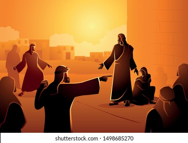 Biblical vector illustration series, Jesus Forgives Adulterous Woman. Let he who is without sin cast the first stone