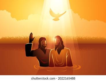 Biblical vector illustration series, Jesus baptised by John the Baptist